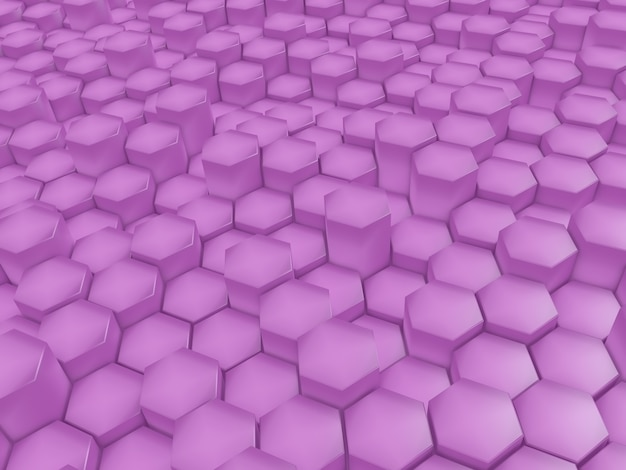 3d render nowoczesnego abstrakcyjnego tła z różowymi sześciokątami wytłaczającymi