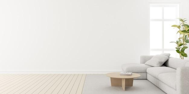 3d render nowoczesnego salonu z drewnianą podłogą i dużą białą zwykłą ścianą.