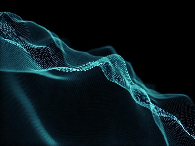 3d render nowoczesnego tła z płynącymi kropkami cyber