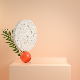 3d render nowoczesnej minimalnej etapie abstrakcyjnej kompozycji geometrii z ilustracji w kolorze skóry