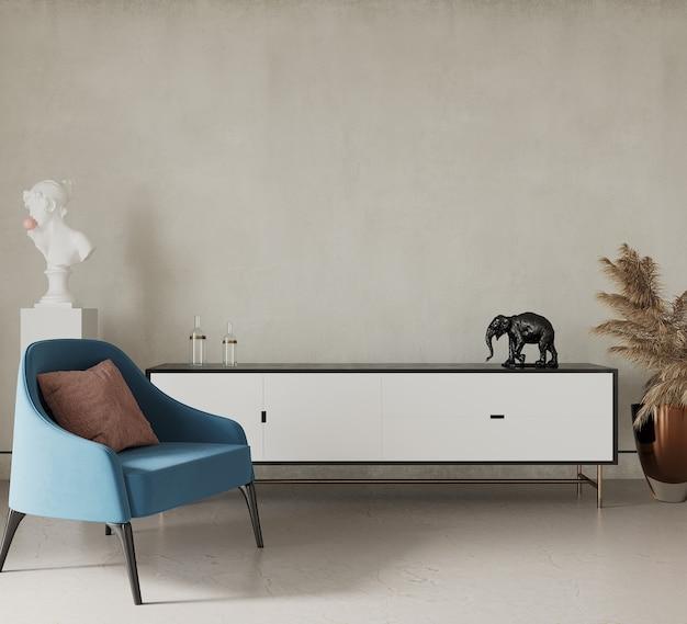 3d render nowoczesny salon z niebieskim fotelem
