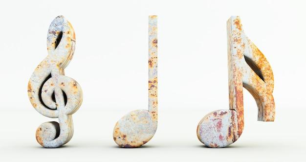 3d render nut muzycznych na białym tle, symbol uwaga rusty metalowej muzyki