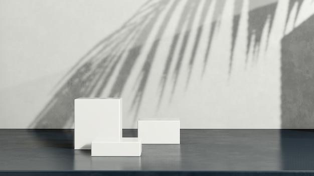 3d render obrazu białe podium z biało-ciemnoniebieskim tłem reklama wyświetlania produktu