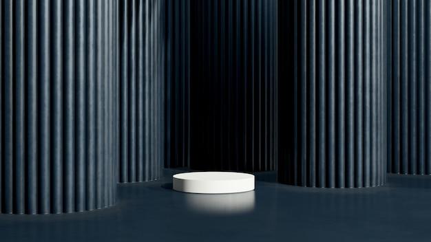 3d render obrazu białe podium z ciemnoniebieskim tłem reklama wyświetlania produktu