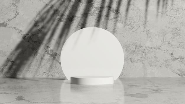 3d render obrazu białe porcelanowe podium z cieniem dłoni i szarym marmurowym tłem wyświetlacza produktu
