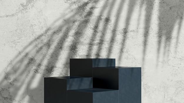 3d render obrazu czarna porcelana podium z cieniem dłoni i szarym marmurowym tłem wyświetlacza produktu