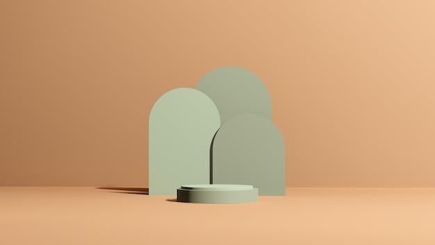 3d render obrazu zielone podium z brązowym tłem reklama wyświetlania produktu