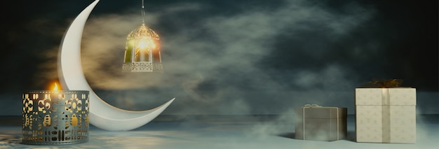3d render of crescent moon z oświetlonymi latarniami i prezentami