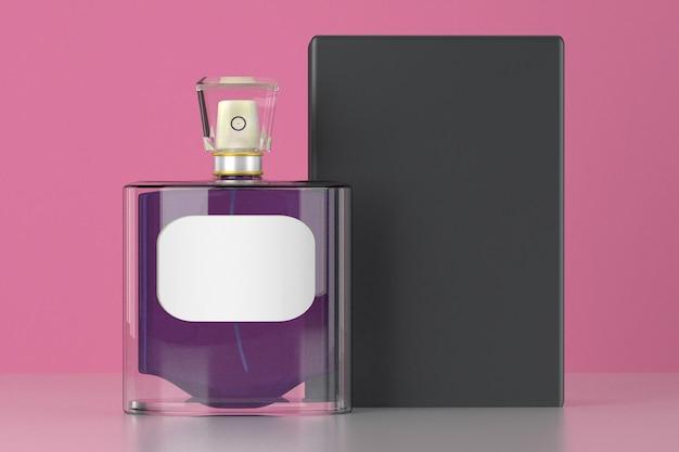 3d render opakowania perfum na różowym tle