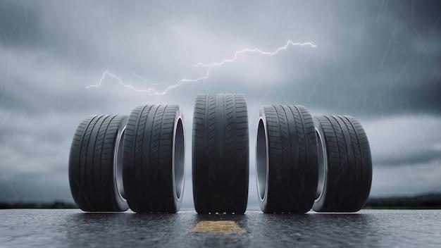 3d render opon samochodowych toczących się na mokrym asfalcie w deszczu z burzą w 4k