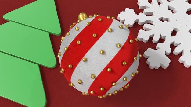 3d render ozdoby choinkowe śnieżynka drzewo