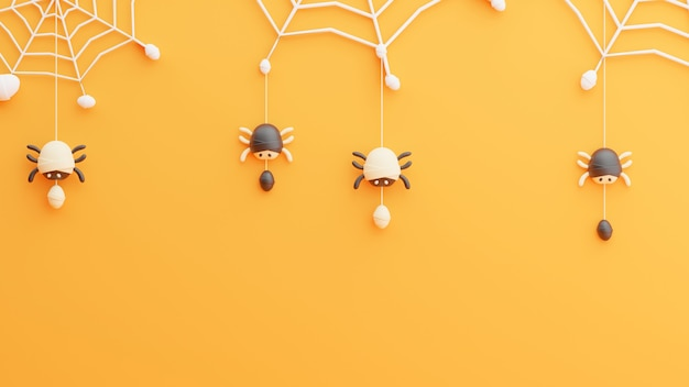 3d render pająka na pajęczynie w dzień halloween