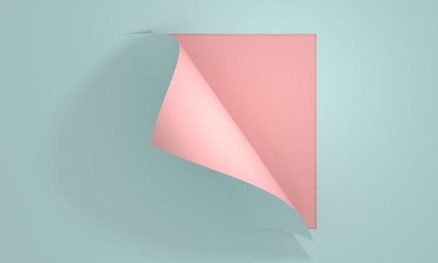 3d render pastelowy papier do notatek zawijanie narożne zawijanie strony kreatywny projekt, aby odsłonić notatkę biurową