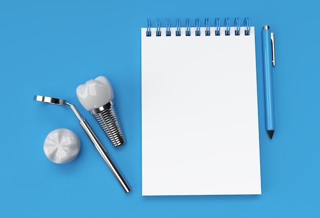 3d render pen i notatnik z chirurgii implantów dentystycznych na pastelowym niebieskim tle.