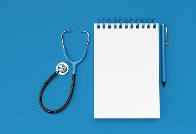 3d render pen i notatnik z doktor stetoskop na pastelowym niebieskim tle.