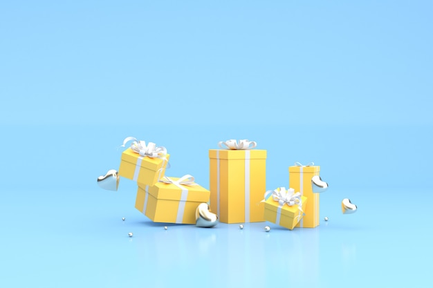 3d render pływających żółtych pudełkach prezentowych