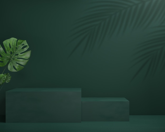 3d render podium z liśćmi monstera i zielonym tłem, abstrakcyjne tło, na pokaz kosmetyczny, wystawowy lub prezentacyjny.