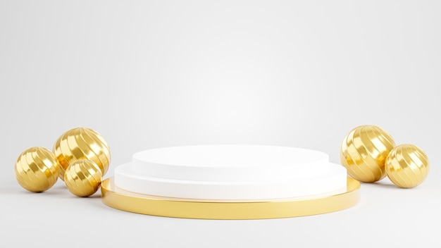 3d render podium z ozdobną złotą piłką do wyświetlania produktów