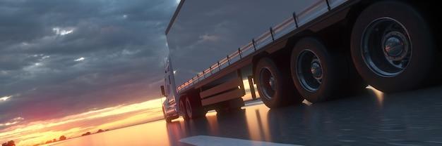 3d render pół ciężarówki jadącej na baner w tle zachodu słońca