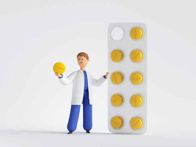 3d render postać z kreskówki lekarza w pobliżu dużego opakowania żółtych tabletek. farmaceuta trzymający jedną okrągłą pigułkę. pojęcie medyczne opieki zdrowotnej.