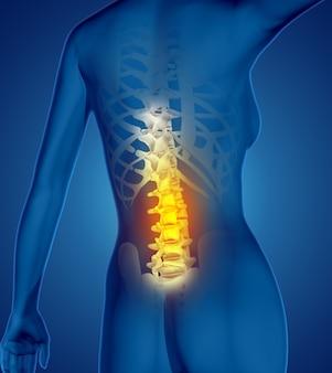 3d render postaci kobiecej medycznej z kręgosłupa podświetlonego