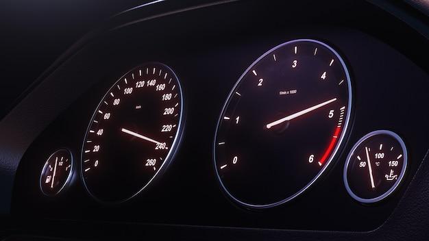3d render prędkościomierz samochodowy nabiera prędkości w nocy