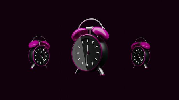 3d render proste minimalistyczne trzy różowe zegary na ciemnym tle