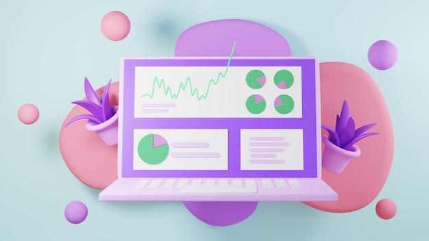 3d render prowadzenia działalności gospodarczej za pośrednictwem notebooka. biznes online mobilny i e-commerce.