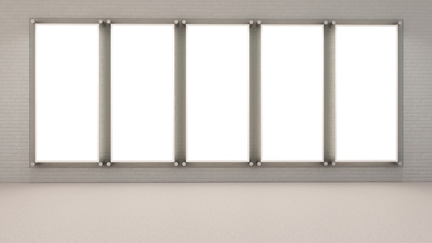 3d render puste ramki na zdjęcia na ścianie z cegły