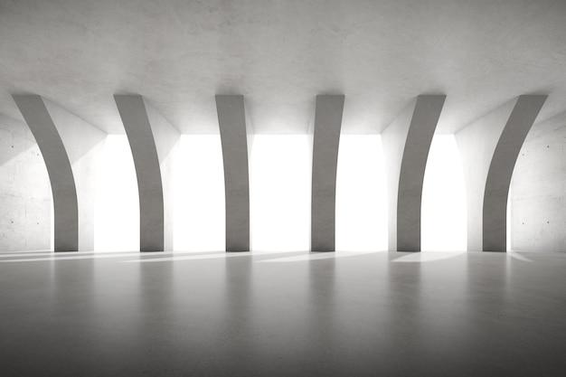 3d render pustego pokoju betonowego z dużą strukturą filaru na białym tle.