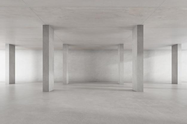 3d render pustego pokoju betonowego z dużą strukturą na białym tle.
