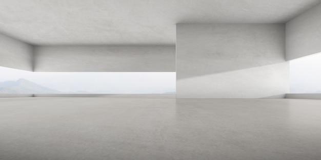 3d render pustego pokoju betonowego z dużą strukturą ściany na tle przyrody.