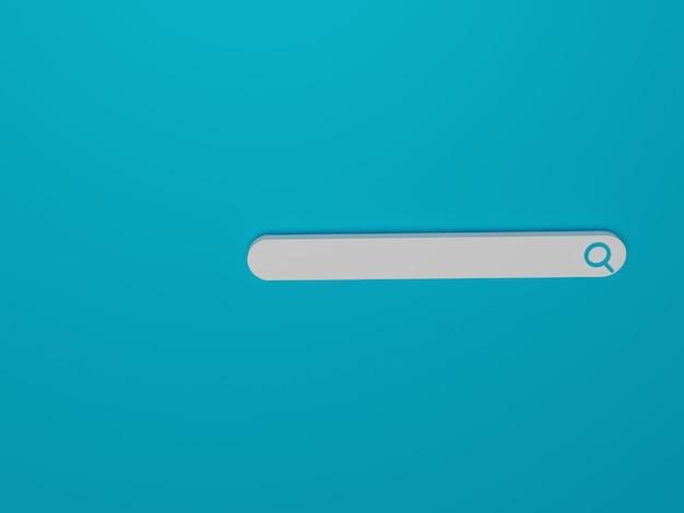 3d render pusty minimalistyczny pasek wyszukiwania na niebieskim tle