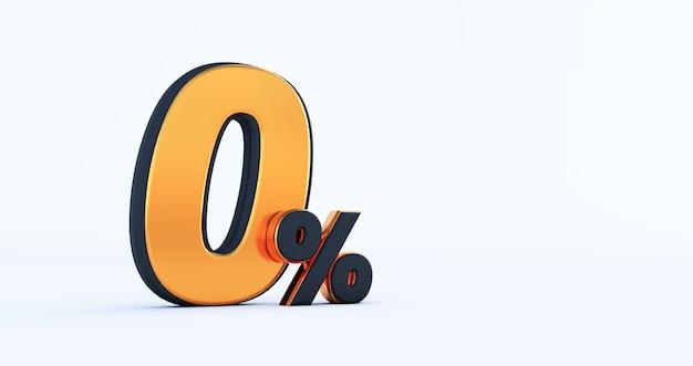 3d render rabatu zero 0 procent zniżki na białym tle