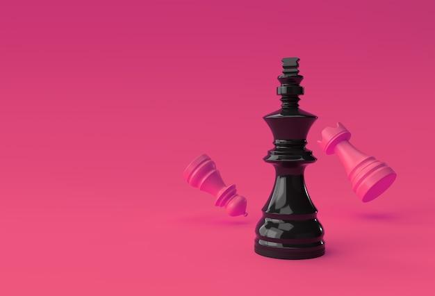 3d render realistyczne szachy król wieża i pionki żołnierz ilustracja design.