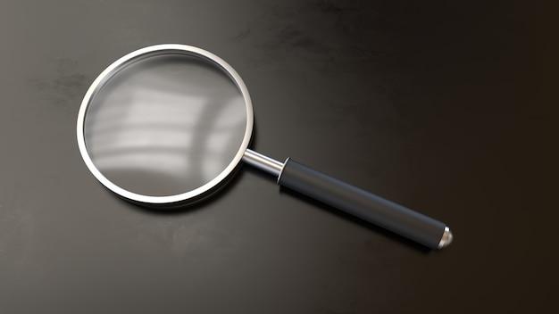 3d render realistyczne szkło powiększające metal search research