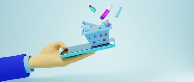 3d render ręki człowieka biznesu i mobilnych. biznes online mobilny i e-commerce.