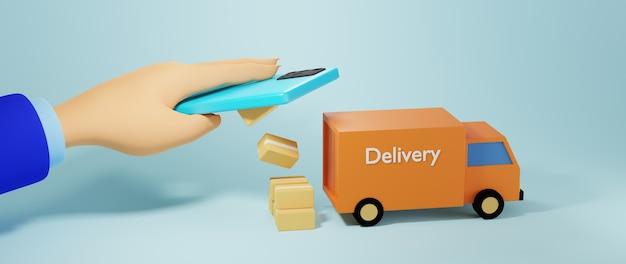 3d render ręki człowieka biznesu i towarów w telefonie komórkowym. biznes online mobilny.