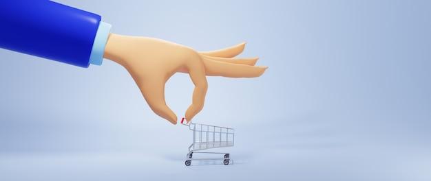 3d render ręki człowieka biznesu i wózek. biznes online mobilny i e-commerce.