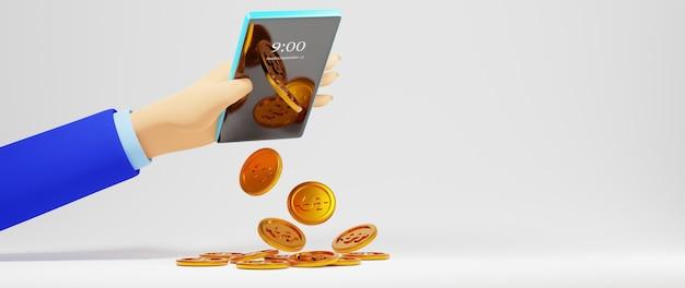 3d render ręki człowieka biznesu i złote monety w telefonie komórkowym. biznes online mobilny.
