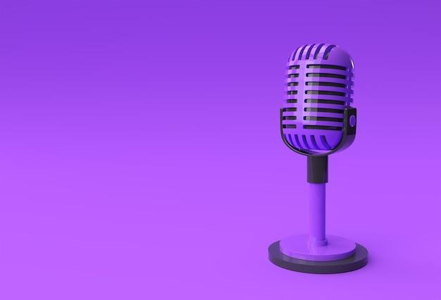 3d render retro mikrofon na krótkiej nodze i stojaku, szablon modelu nagrody muzycznej, sprzęt do karaoke, radia i studia nagrań.