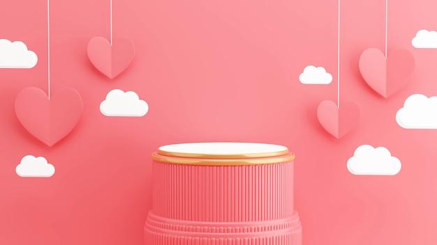 3d render różowego podium z koncepcją valentine do wyświetlania produktów