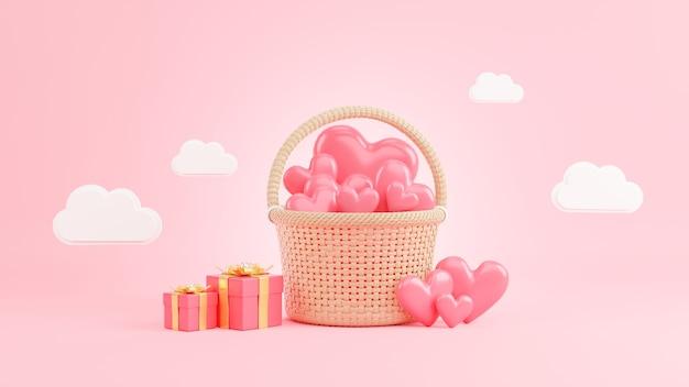 3d render różowego serca w wiklinowym koszu na walentynki