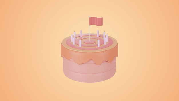 3d render różowy ciasto cel i koncepcja sukcesu.