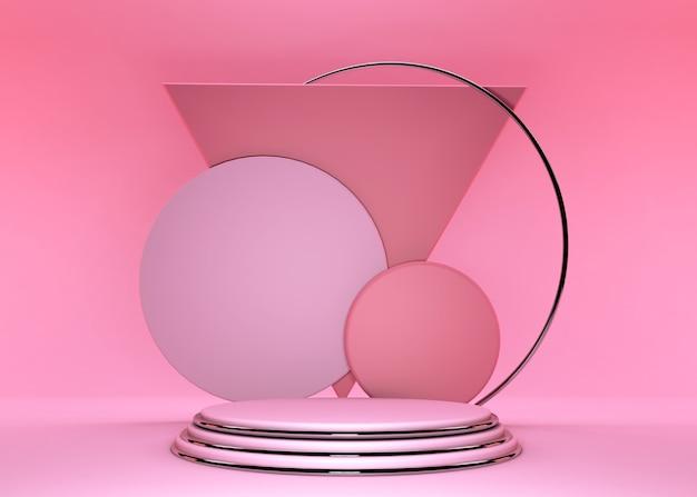 3d render różowy podium. prezentacja produktów w sklepie, pusta przestrzeń, pusty cokół, różowo-srebrna scena. pusta makieta z miejsca na kopię