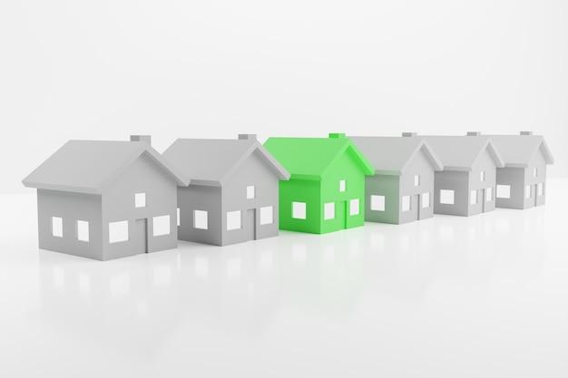3d render rząd szarych domów z zielonym pośrodku na białym tle