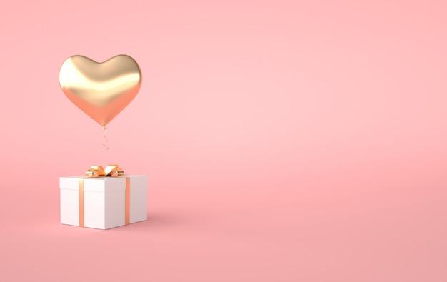 3d render serce balon pudełko na różowym tle