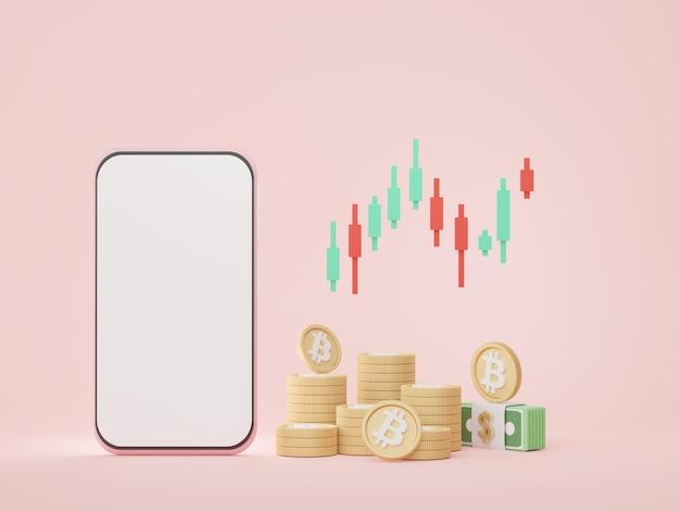 3d render smartfon z zarządzaniem inwestycjami w kryptowaluty bitcoin i innowacjami finansowymi