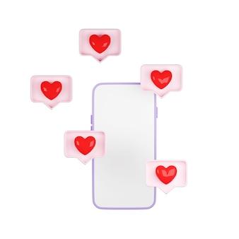 3d render smartfona z ikonami miłości w pastelowym różowym pudełku z dymkiem