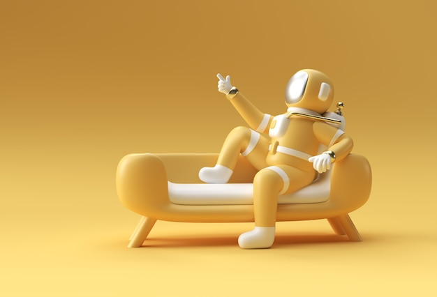 3d render spaceman astronauta siedzi na kanapie z flying rocket 3d ilustracja projektu.
